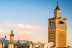 View of the Al-Zaytuna Mosque and the skyline of Tunis at dawn. Royalty Free Stock Photography