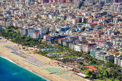 View of Alanya and Cleopatra beach from Alanya Castle stock photo
