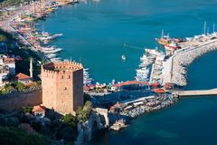 View at the Alanya harbor Stock Image