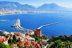 View of Alanya harbor from Alanya peninsula. Turkish Riviera Royalty Free Stock Images
