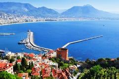 View of Alanya harbor from Alanya peninsula. Turkish Riviera Royalty Free Stock Images