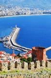 View of Alanya harbor from Alanya peninsula. Turkish Riviera Stock Photography