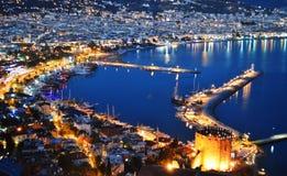 View of Alanya harbor from Alanya peninsula. Turkish Riviera Royalty Free Stock Photos