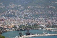 View of Alanya harbor from Alanya peninsula. Turkish Riviera stock image
