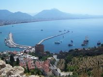 View of the Alanya Harbor and Bay from Alanya Castle, Turkey royalty free stock photo