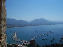 View of the Alanya Harbor and Bay from Alanya Castle, Turkey stock images