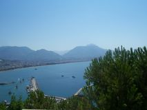 View of the Alanya Harbor and Bay from Alanya Castle, Turkey stock photography