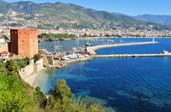 View of Alanya harbor form Alanya peninsula. Turkish Riviera Stock Photo