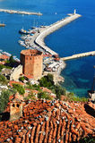 View of Alanya harbor form Alanya peninsula. Turkish Riviera Stock Photos