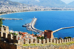 View of Alanya harbor form Alanya peninsula. Turkish Riviera Royalty Free Stock Photo