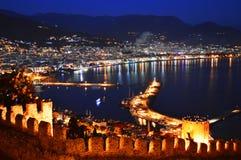 View of Alanya harbor form Alanya peninsula. Turkish Riviera Stock Photos