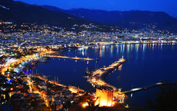 View of Alanya harbor form Alanya peninsula. Turkish Riviera. By night Royalty Free Stock Images