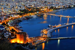 View of Alanya harbor form Alanya peninsula. Turkish Riviera Royalty Free Stock Images