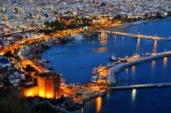 View of Alanya harbor form Alanya peninsula. Turkish Riviera. By night Royalty Free Stock Images