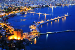 View of Alanya harbor form Alanya peninsula. Turkish Riviera Stock Images