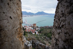View of Alanya Mediterranean town of Turkey between castle walls Royalty Free Stock Images