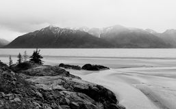 View of Alaska Mountain Range. Black and White View of Alaska Mountain Range Stock Photos