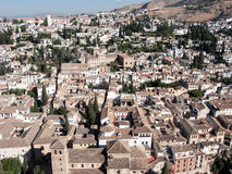 View of Albaicin, Granada, Spain. Granada, aerial panoramic view of old Albaicin district from Alhambra Royalty Free Stock Photo