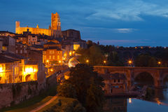 View of the Albi, France at night Stock Images