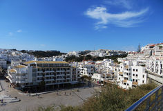 View Albufeira, Portugal. Architecture buildings houses in Albufeira, Portugal Stock Photo