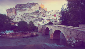 View of Alcala del Jucar with bridge. Province of Albacete. Spain Stock Photography
