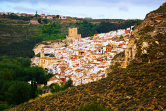 View of Alcala del Jucar with castle Royalty Free Stock Image