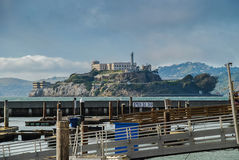 View of Alcatraz Island from the Pier 39 in San Francisco Royalty Free Stock Photography