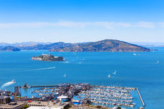 View of Alcatraz island from San Francisco Stock Photos