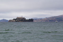 View of Alcatraz prison during a stormy day in San Francisco, California Stock Image