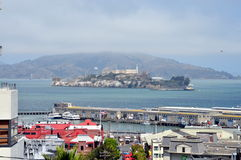 View of Alcatraz from Russian Hill. Stunning view of Alcatraz from Russian Hill, San Francisco (California) in a sunny day Stock Image