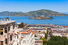 View on Alcatraz from san Francisco city Stock Images