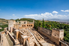 View of the Alcazaba of Alhambra in Granada Royalty Free Stock Photos