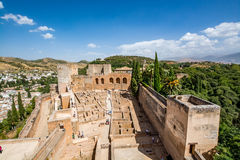View of the Alcazaba of Alhambra in Granada, Spain stock photography