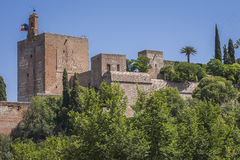 View of the Alcazaba of the Alhambra from Torres Bermejas. View of the Alcazaba from Torres Bermejas (fortress in Mauror hill opposite the Alhambra in Granada) Royalty Free Stock Images