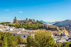 View at the Alcazaba of Antequera - Spain. View at the buildings and Alcazaba fortress of Antequera in Spain royalty free stock photography