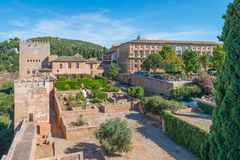Entrance Nasrid Palaces, Alhambra, Granada. View from Alcazaba on entrance Nasrid Palaces and Palace Charles V, Alhambra, Granada, Andalusia, Spain stock photography