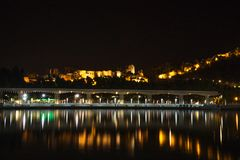 View of Alcazaba from harbour, Malaga, spain, Euope at night wit Royalty Free Stock Photos