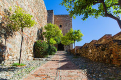 View of Alcazaba of Malaga in Andalusia, Spain. Royalty Free Stock Photography