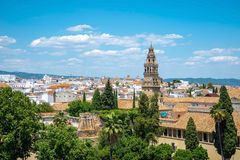 View of Alcazar and Cathedral Mosque of Cordoba, Spain. Stock Photography