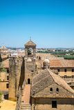 View of Alcazar and Cathedral Mosque of Cordoba, Spain. Royalty Free Stock Images