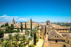 View of Alcazar and Cathedral Mosque of Cordoba, Spain. Royalty Free Stock Photos