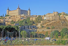 View on Alcazar de Toledo from side of Tagus river, Toledo, Spain Stock Photos