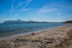 View from alcudia mallorca. Beach in Mallorca. Beautiful seight in mallorca Royalty Free Stock Photos