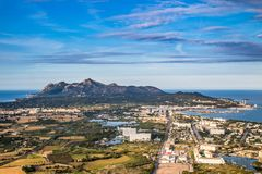 View from alcudia mallorca. Beach in Mallorca. Beautiful seight in mallorca. Photo for postcard Stock Images