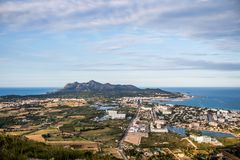 View from alcudia mallorca. Beach in Mallorca. Beautiful seight in mallorca. Photo for postcard Stock Image