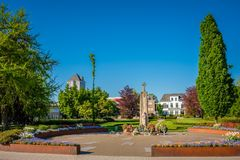 View of the Alderman E. van Dronkelaarsquare in Almelo Netherlands. The E. Van Dronkelaarsquare in Almelo is famous for its Monument for the Fallen 1951 where royalty free stock images