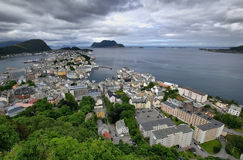 View on Alesund from hill. Norway Royalty Free Stock Photos