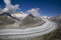 View on Aletsch glacier from Eggishorn mount Royalty Free Stock Images