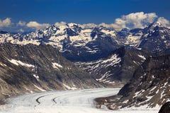 View of Aletsch glacier from Jungfraujoch. Switzerland Stock Photos