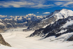 View of Aletsch glacier from Jungfraujoch. Switzerland Royalty Free Stock Images